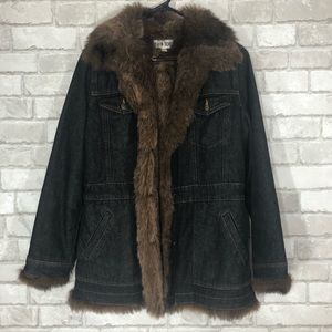 EUC Vintage Long Denim Jacket Coat Faux Fur